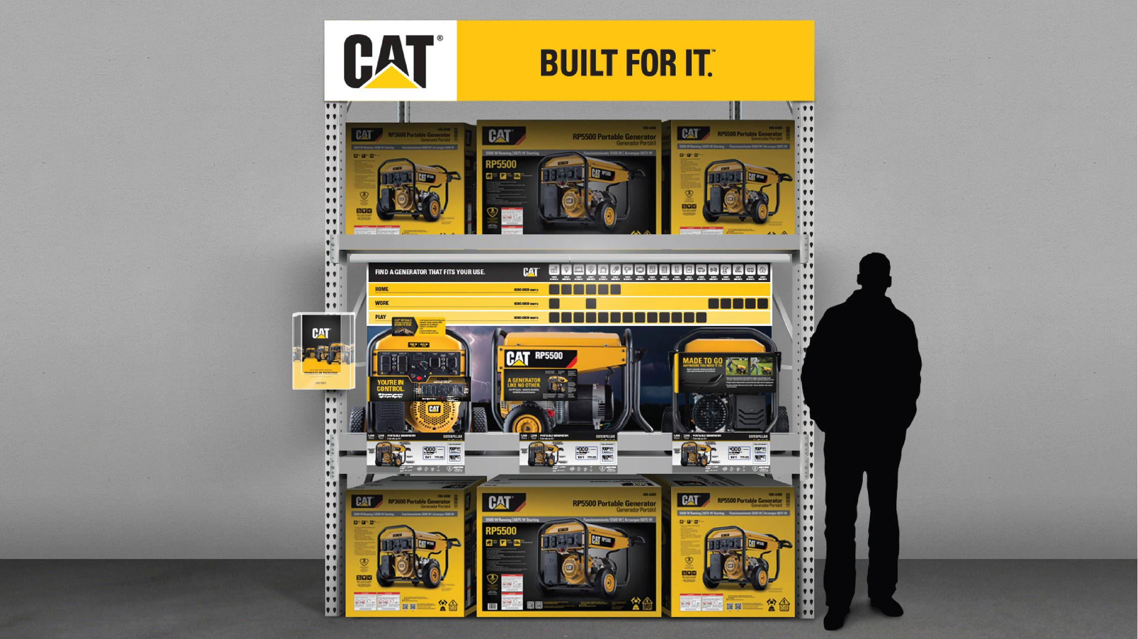caterpillar consumer launch display shelf
