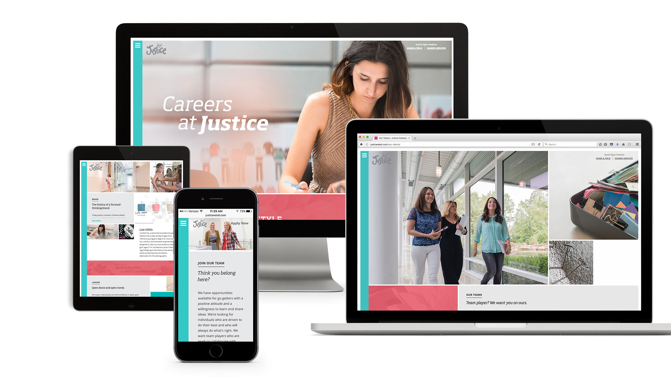 justice website on different devices