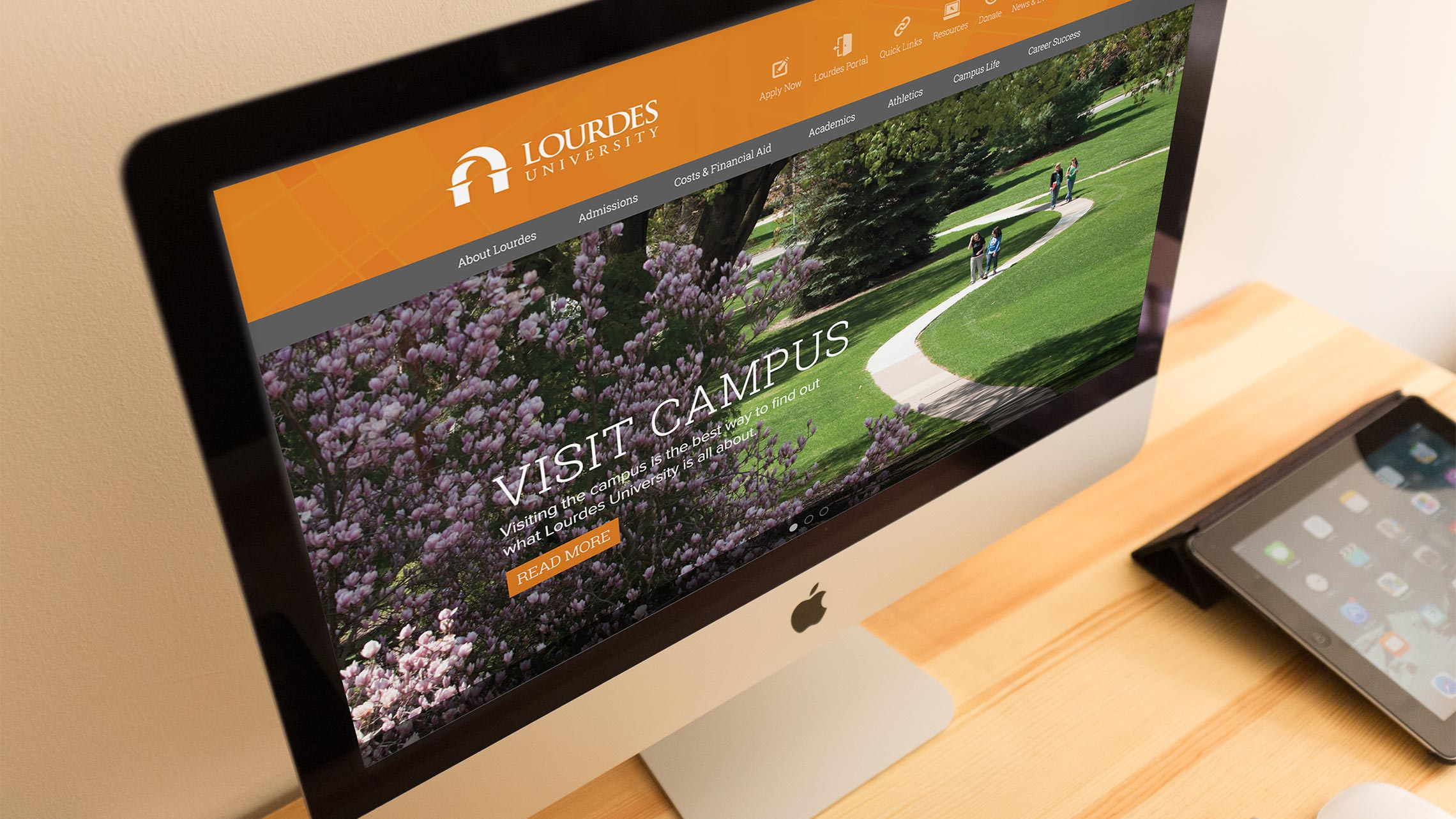 Lourdes website on an iMac