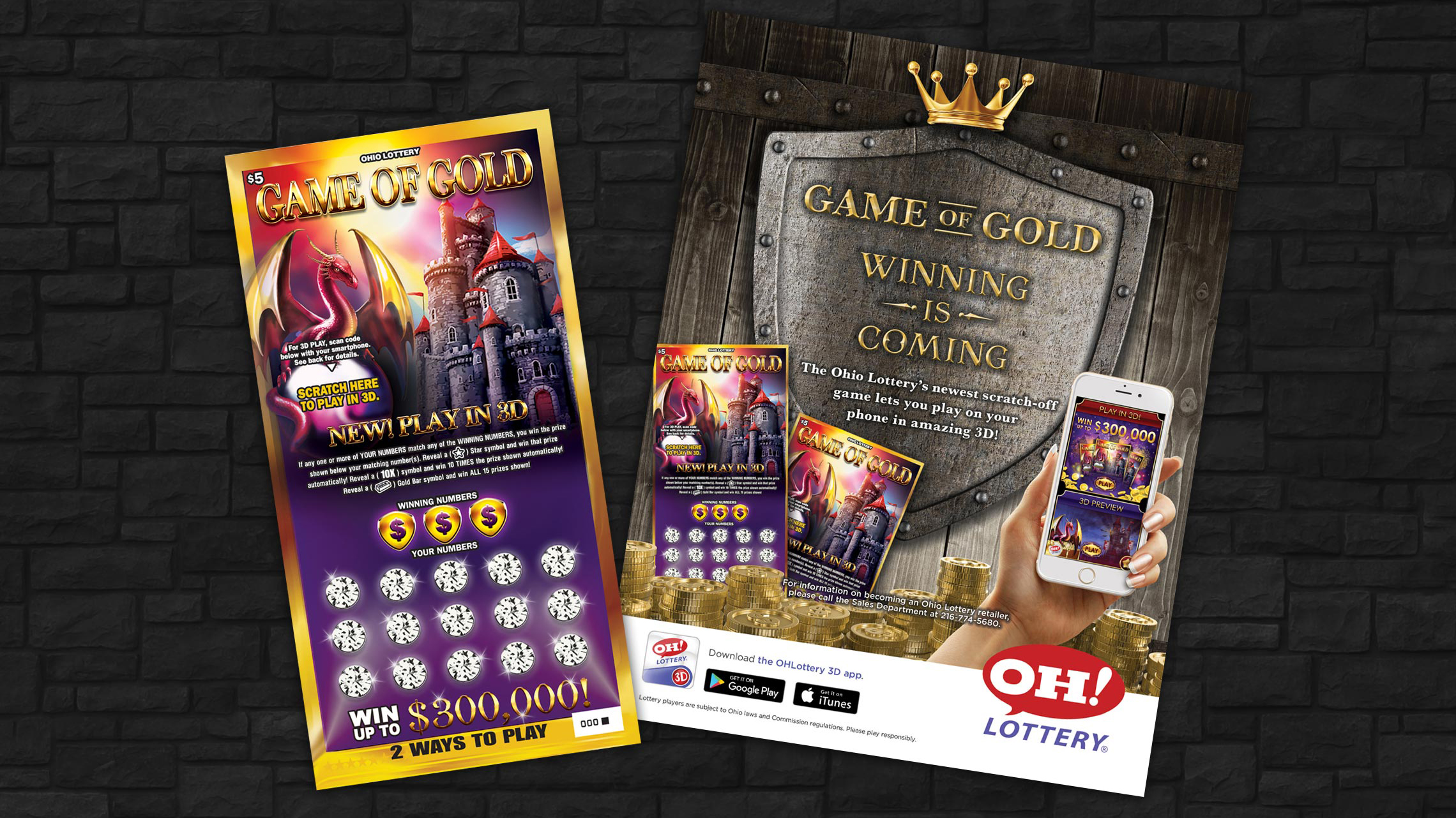 ohio lottery game of gold ticket and poster